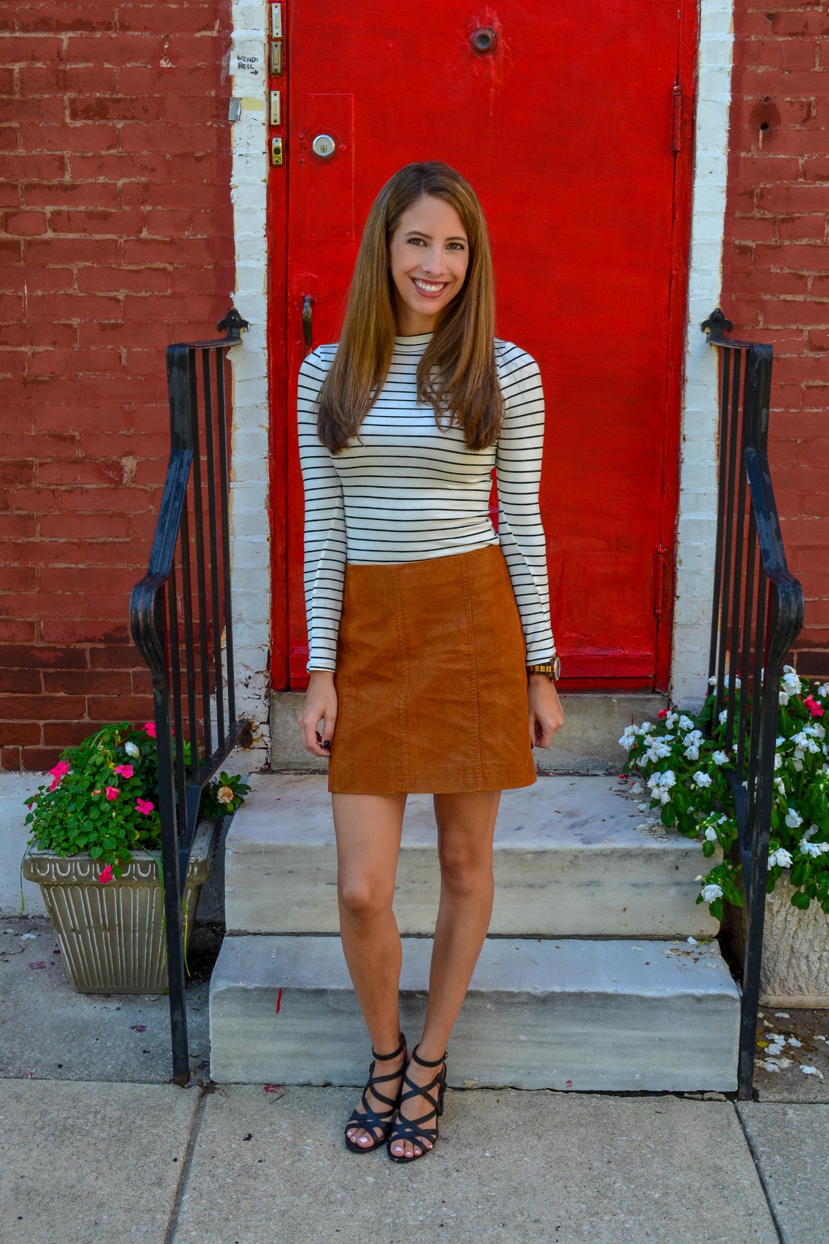 442e8da8ac4 Vegan Suede Mini Skirt with a Chic White Striped Top - Sincerely, K