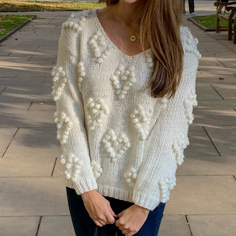 Fall in Love with this Heart Pom Pom Knit Sweater