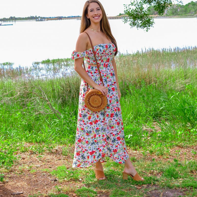 Beautiful Floral Midi Dress for Spring